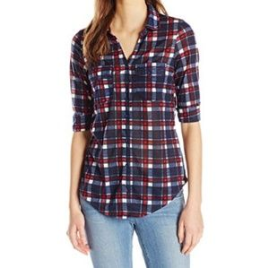 paper + tee red, white, blue plaid tie front shirt